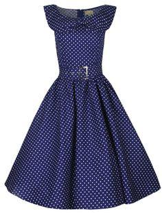 Lindy Bop 'Hetty' Polka Dot Bow Shawl Collar Vintage 1950's Rockabilly Swing Dress