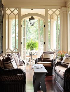 trim work around french doors leading to wrap around porch.....Wrap Around Porch With Screened In Porch Design, Pictures, Remodel, Decor and Ideas - page 17