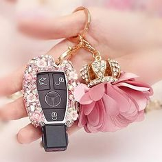 Nice Mercedes 2017: Mercedes Benz Pink Bling Car Key Holder with Rhinestones and flowers for…... Bling Your Ride Check more at http://carsboard.pro/2017/2017/01/16/mercedes-2017-mercedes-benz-pink-bling-car-key-holder-with-rhinestones-and-flowers-for-bling-your-ride/
