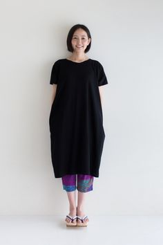 Rectangle One Piece Dress Linen Cotton blend Black $59.50