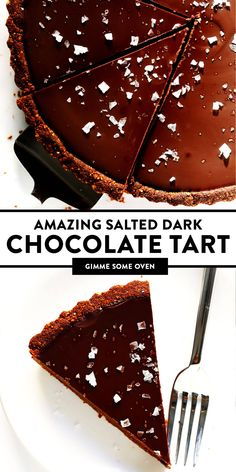 LOVE this Salted Dark Chocolate Tart recipe! It's quick and easy to make ahead made with a gluten-free almond crust and zero heavy cream and it's SO decadent and delicious. The perfect dessert for Valentine's Day or anytime you're craving some chocolate. Gluten Free Chocolate, Chocolate Desserts, Vegan Chocolate, Salted Caramel Chocolate Tart, Dark Chocolate Recipes, Chocolate Tarts, Gluten Free Desserts, Vegan Desserts, Just Desserts