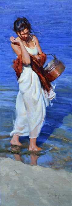 """""""Collecting Shells"""" - Albin Veselka oil on canvas board {contemporary figurative art female standing woman painting} albinveselka.com"""