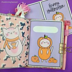 """Eeekks!!  I'm so excited to let you guys know that I just added printable Halloween dashboards on Unicorn Planner!  There's two different styles- one with """"Happy Halloween"""" and the other is plain for you to write something on it!  And both styles come in four different sizes- pocket A6 B6 and A5!  Go grab one now to put in your planner!!"""