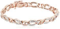 18k Rose Gold Plated Sterling Silver Diamond Bracelet (1/10 cttw, I-J Color, I2-I3 Clarity)