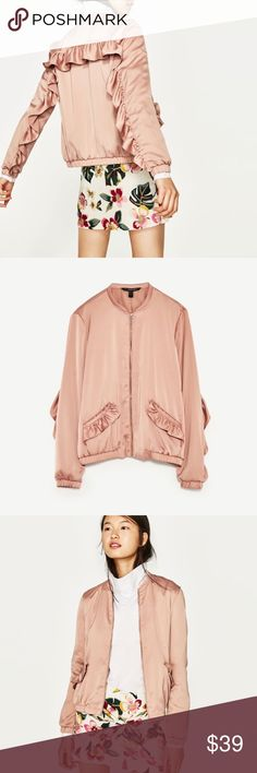 Zara Satin Jacket with ruffles on the back   Zara Satin Jacket with frills on the back. Feel free to make an OFFER!!  All of my items come from a smoke free and pet free home! Happy to bundle multiple items!!  Cheers!✨ Zara Jackets & Coats Jean Jackets