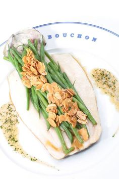 Bouchon's Truite Amandine is back for Spring - sautéed rainbow trout, haricots verts, toasted almonds & beurre noisette. Beverly Hills Restaurants, Cafe Seating, Rainbow Trout, Toasted Almonds, Chow Chow, Fresh Rolls, Dining, Ethnic Recipes, Food
