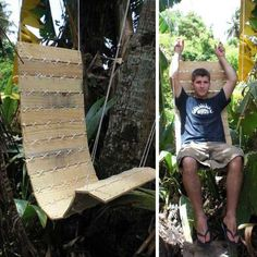 hanging chair made of salvaged wood