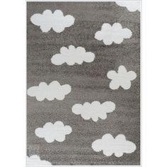 Παιδικό χαλί γκρι με λευκά σύννεφα. Για αγόρια και κορίτσια