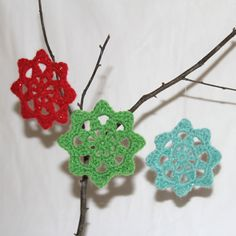 Crochet Glitter Ornaments, Set of 3 Red Green Blue Christmas Holiday Decoration Shimmer Sparkle Motif Snowflake Star. $11.00, via Etsy.