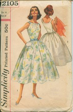 1950s Dress Simplicity 2105 Sewing Pattern Vintage Size 14 Full Rockabilly Skirt Evening Gown Sexy Neckline. $35.00, via Etsy.