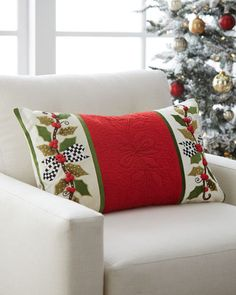 Shop Mistletoe Lumbar Pillow from MacKenzie-Childs at Horchow, where you'll find new lower shipping on hundreds of home furnishings and gifts. Christmas Makes, All Things Christmas, Christmas Holidays, Christmas Ornaments, Christmas Cushions, Christmas Pillow, Holiday Crafts, Holiday Decor, Star Quilt Patterns