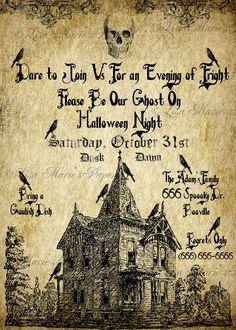 halloween haunted house invitation handmade by LisaMariesPaperie Halloween Quotes, Halloween 2020, Halloween Cards, Holidays Halloween, Vintage Halloween, Halloween Diy, Happy Halloween, Halloween Decorations, Rustic Halloween