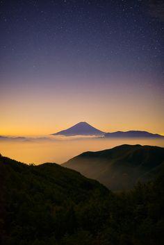 View of Mt. Fuji from Mt. Kushigata, Japan