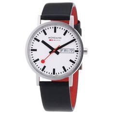 Mondaine A667.30314.11SBB Men's Classic White Dial Black Leather Strap Watch