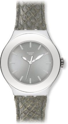 Swatch Women's Irony YNS120 Grey Leather Quartz Watch with Silver Dial Swatch. $119.00. Mineral Crystal. 50 Meters / 165 Feet / 5 ATM Water Resistant. Irony Collection. Quartz Movement. 45mm Case Diameter