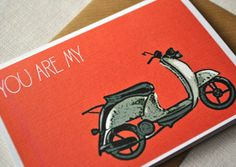 Retro cool vespa red card (pack of 4) for your love one. $12.00, via Etsy.