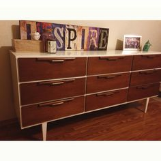 Painted dresser to give a new, modernized look.