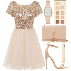 party dress by j-n-a on Polyvore featuring moda, Chi Chi, Charlotte Russe, Yves Saint Laurent, Kate Spade, LORAC, Clarins and partydress