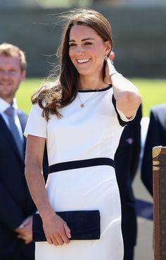 Kate Middleton in a Jaeger dress.