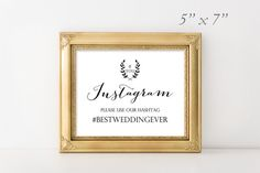 Instagram printable sign // Elegant Wedding Sign
