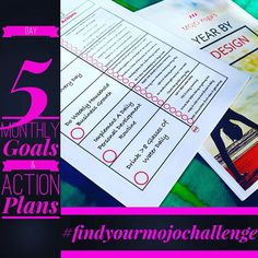 #findyourmojochallenge Day 5: Monthly Goals & Action Plans  What do you want to accomplish this month?  Today we focus in on just this month to set some measurable goals and detailed specific actions we can take every day to move us closer to those goals!  Share your biggest goal for this month as you work on Day 5 of the challenge! For bonus points share at least one action you'll take to move you forward towards that goal.  Get your Year By Design workbook included in the Find Your MOJO…