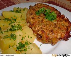Kotleta v houbovém těstíčku Pork, Chicken, Meat, Kale Stir Fry, Pork Chops, Cubs