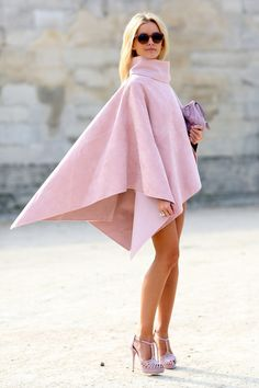 PFW Street Style Day 6: A cape that's all edge in a totally feminine color.