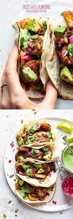 Vegan tacos with fried plantain - Lazy Cat Kitchen - Yemek Tarifleri - Resimli ve Videolu Yemek Tarifleri Vegan Dinner Recipes, Vegan Dinners, Veggie Recipes, Mexican Food Recipes, Breakfast Recipes, Vegan Vegetarian, Vegetarian Recipes, Cooking Recipes, Healthy Recipes