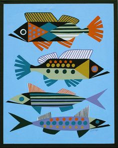 PAINTING RETRO EAMES MID CENTURY MODERN ABSTRACT GEOMETRIC FOUR TROPICAL FISH #Modernism