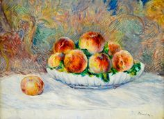 Pierre Auguste Renoir - Peaches, 1882 at Musée de l'Orangerie Paris.The Musée de l'Orangerie is an art gallery of impressionist and post-impressionist paintings located on the Place de la Concorde in Paris. Though most famous for being the permanent home for eight Water Lilies murals by Claude Monet, the museum also contains works by Paul Cézanne, Henri Matisse, Amedeo Modigliani, Pablo Picasso, Pierre-Auguste Renoir, Henri Rousseau, Alfred Sisley, Chaim Soutine, & Maurice Utrillo, among…