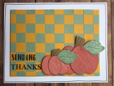 #467 Triple Play with Sundance, Papaya, Sage. Background created using strips of Sundance & Sage & places in a checkerboard pattern. Pumpkins cut from Papaya card stock using oval thin cut, embossed with folder from SU!, sponged with Papaya & assembled into pumpkins. Leaves from Pumpkin Spice card WOTG are stamp in Sage on Sage. Stems freehand from Sept./Oct. Mix-ins. Sentiment from Pumpkin Spice card WOTG stamped in black. Black journaling pen to finish. Thankful, Wallet, Color, Colour, Purses, Diy Wallet, Purse, Colors