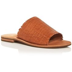 Frye Women's Riley Woven Leather Slide Sandals (€145) ❤ liked on Polyvore featuring shoes, sandals, tan, woven leather sandals, rubber sole sandals, braided leather shoes, frye shoes and slide sandals