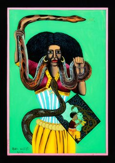 """Source: Drewal, Henry John. (2008) """"Mami Wata: Arts for Water Spirits in Africa and Its Diasporas"""", Los Angeles, UCLA Fowler Museum of Cultural History. page 56 In this reverse-glass painting Mor Gueye follows the 1955 print of Mami Wata closely, including the inset figure of the flute player with snakes on the lower right. artistMoy-Gueye object nameGlass Painting place madeDakar, Senegal culture groupWolof peoples materialsglass, paint, cardboard, tape, string dimensionsH: 48.0 cm, W: 32.5 cm, D: 0.6 cm"""