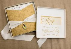 Pretty gold invitation box by Simply Mox. Photo by Tracy Autem Photography. #wedding #invite #gold