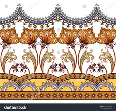 Find Seamless Border Paisley Curls Stylized Flowers stock images in HD and millions of other royalty-free stock photos, illustrations and vectors in the Shutterstock collection. Thousands of new, high-quality pictures added every day. Textile Pattern Design, Batik Pattern, Border Pattern, Textile Patterns, Pattern Art, Mehndi, Henna, Frame Border Design, Hand Painted Dress