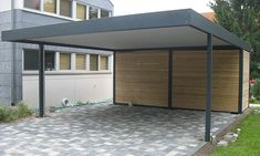 Carport is a place to put a vehicle, such as a car, motorcycle, or bicycle to be protected from heat and rain, the garage has enough walls on all four… Carport Sheds, Carport Garage, Pergola Carport, Pergola Kits, Shed Design, Garage Design, Roof Design, Exterior Design, Street Furniture