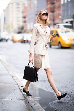 Shirt dress + loafers #StyleStaples