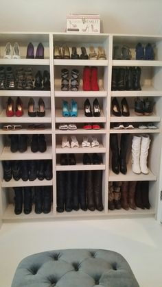 My beloved shoe wall ❤ Colorful Desk, Shoe Wall, Closets, Boots, House, Home Decor, Armoires, Crotch Boots, Decoration Home