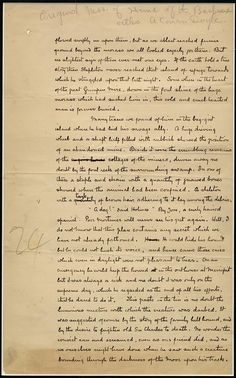 """Original manuscript page from chapter 14 of Sir Arthur Conan Doyle's Sherlock Holmes novel """"The Hound of the Baskervilles,"""" published in 1901."""