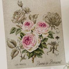 Lin : Étude à la rose «Pierre de Ronsard» (maxi-grille) à broder au point de croix