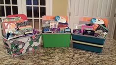 Back to school supplies in nice organizing baskets for kids, teens and tweens