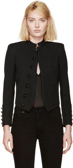 Saint Laurent: Black Wool Spencer Jacket | SSENSE