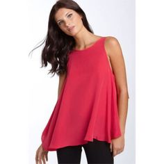 ✨HP✨ BCBGMAXazria draped back sleeveless top Color: Azalea Red  Lightweight silk woven  Scoop neck  Sleeveless  Draped back  Unlined  Contemporary fit  Size S measures approximately 30'' from shoulder seam to hem  100% Silk;  Dry Clean;  Worn and dry cleaned 3 times and after looking closely over the top in the front towards the bottom I see two very tiny holes, are not visible when worn. Can be seen in last pic. BCBGMaxAzria Tops