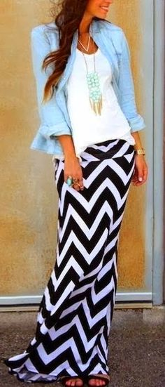 see more Stylish Blue Shirt with T-Shirt, Maxi Patterned Skirt and Accessories