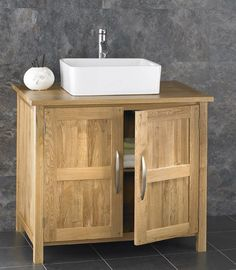 90cm Wide Double Door Solid Oak Ohio Vanity Cabinet With Basin And Tap