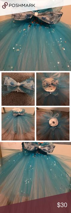 NWOT Snow ❄️flakes Tutu holiday Christmas  dress This is an adorable brand new handmade Tutu dress! Size 0-12 Months. The bottom layer is a double layer of white tulle, the top layer is a single layer of turquoise tulle and some are turquoise sequined tulle. This dress will shimmer all day! Makes for excellent holiday pictures for that 1st Christmas . Both the bow on the dress and the bow on the headband are removable as they are attached to a hair clip. handmade Dresses Formal