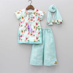 Pre Order: Floral Print Kurta And Palazzo Pant With Dupatta Girls Dresses Sewing, Cute Girl Dresses, Little Girl Dresses, Girl Outfits, Kids Frocks Design, Baby Frocks Designs, Baby Girl Dress Design, Kids Gown, Baby Girl Dress Patterns