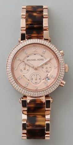 rose gold/ tortoise Michael Kors watch.. really wish i bought this when i had my 50% off employee discount card