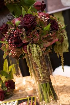 antique hydrangea, hanging amaranthus, black baccara rose...pepper berry