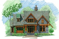 """Laurel Cottage Front Elevation -- Natural Element Homes add a basement to make this a ice 5-6 bedroom """"small""""cabin"""